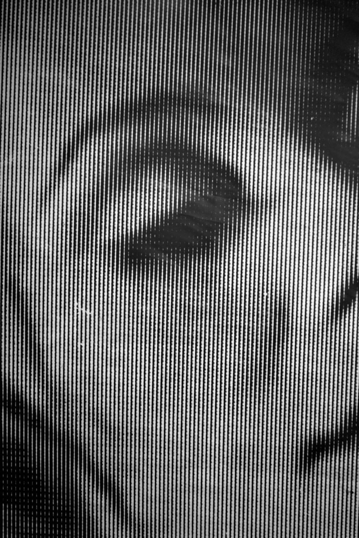 Pedro Wainer - Rostro. Detalle de fotograma 150 x 107 cm. impresión sobre papel RC perla, (copia única). (2015)