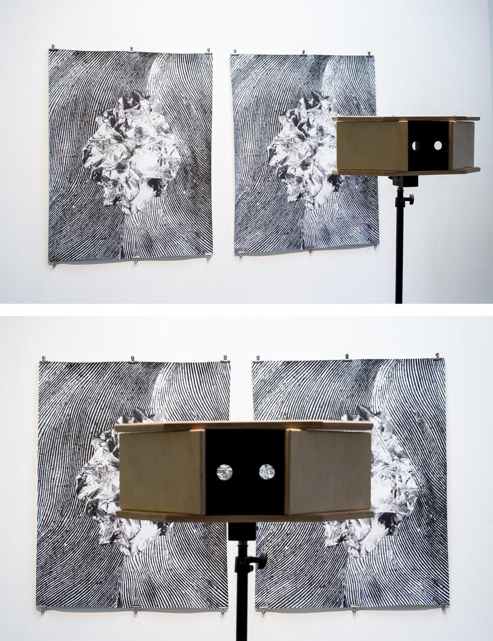 Pedro Wainer - Pensamiento #1 (2017) 125 x 235 cm. Fotografía estereoscópica. Exposición directa sobre gelatina de plata y visor con espejos sobre trípode, copia única